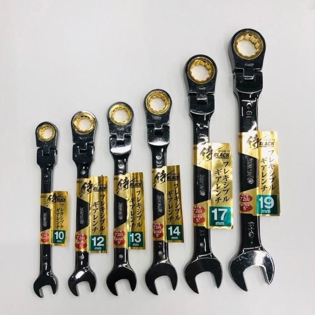 ◆フレキシブルギアレンチ 19mm 侍ブラック :スパナ・コンビネーションレンチ・首振り②_画像3