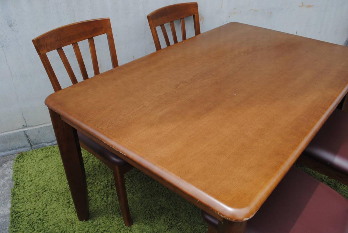 A83【詳細複数写真あり】野田産業ダイニングセット/ダイニングチェア/ダイニングテーブル/食卓テーブル/天然木/_画像5