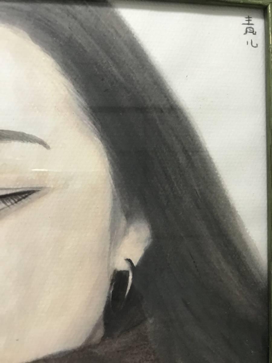 模写 東郷青児 油彩 「女性像」 本人サイン、鑑定証あり_画像4