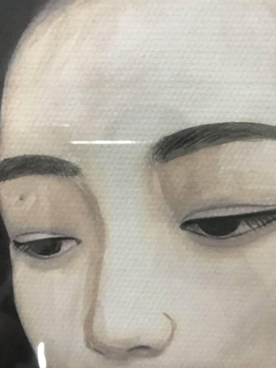 模写 東郷青児 油彩 「女性像」 本人サイン、鑑定証あり_画像3