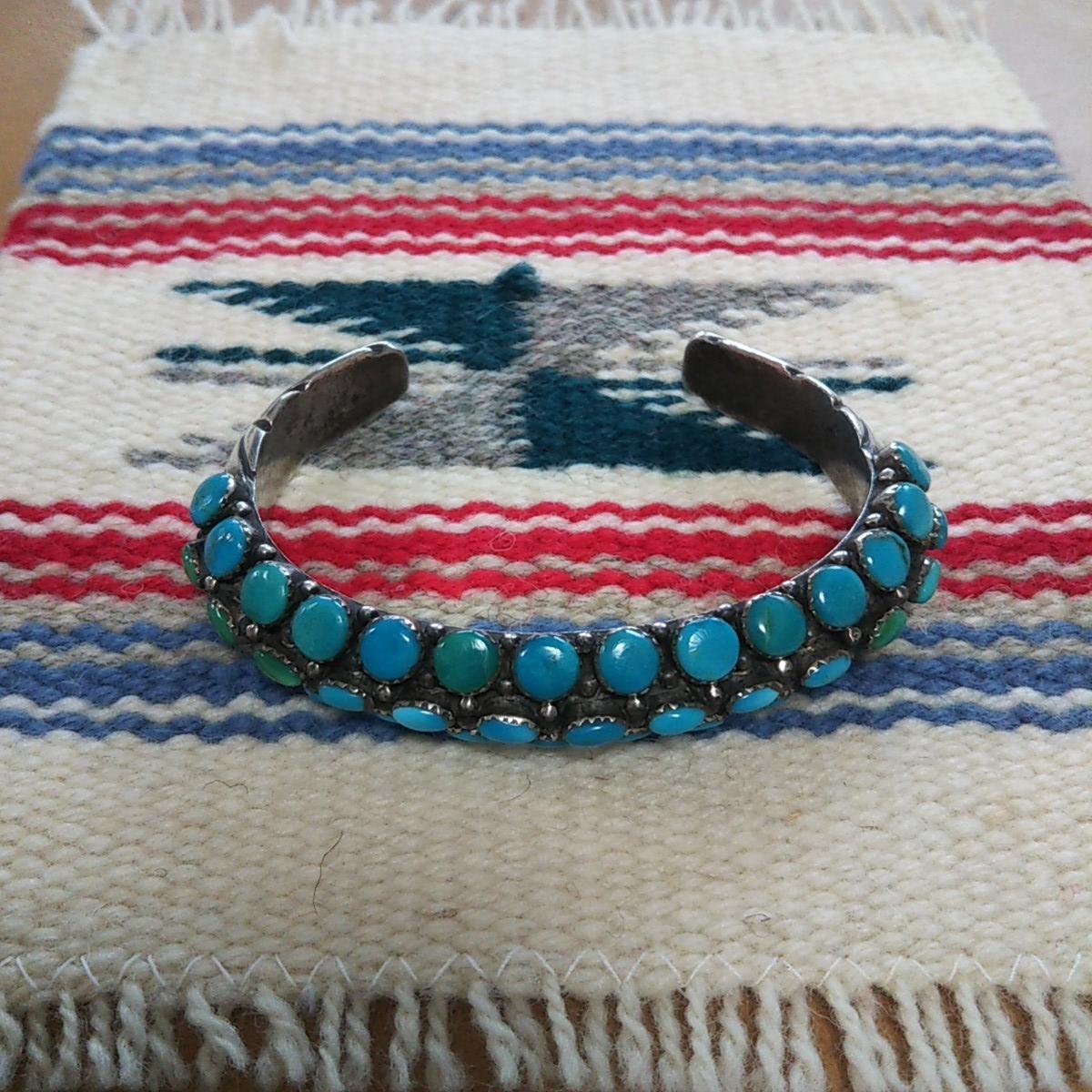 インディアンジュエリー ナバホ族 T sterling ターコイズ クラスター シルバーバングル♯ネイティブアメリカン ホピ族 ズニ族 silver925