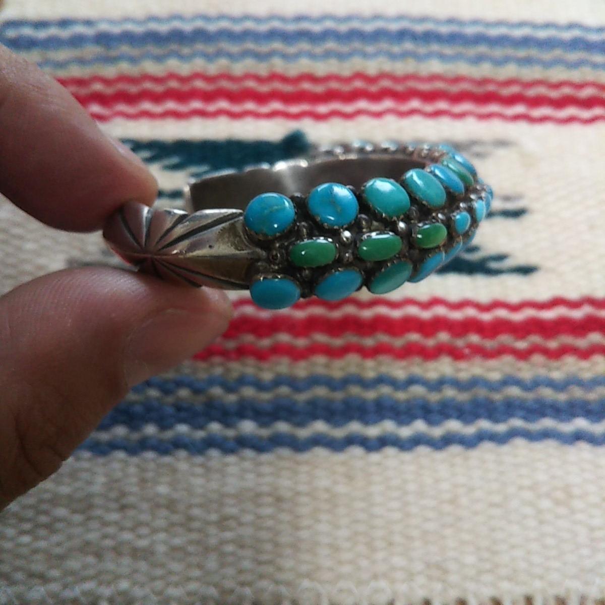 インディアンジュエリー ナバホ族 T sterling ターコイズ クラスター シルバーバングル♯ネイティブアメリカン ホピ族 ズニ族 silver925_画像4