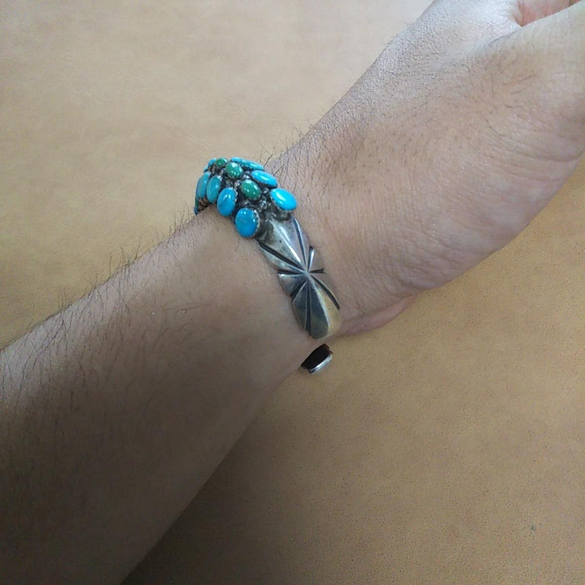 インディアンジュエリー ナバホ族 T sterling ターコイズ クラスター シルバーバングル♯ネイティブアメリカン ホピ族 ズニ族 silver925_画像7
