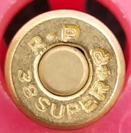 リアル ダミーカートリッジ 38スーパーレミントン フルメタル弾頭 1発 ダミーカート インテリア 飾り 観賞用 弾丸 弾 薬莢 改_画像2