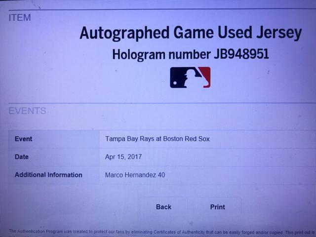 2017 MLB メジャーリーグ MLB公認証明付 実使用 本物 マルコ ヘルナンデス ボストン レッドソックス Redsox ユニフォーム 上原浩治 同僚 _画像2