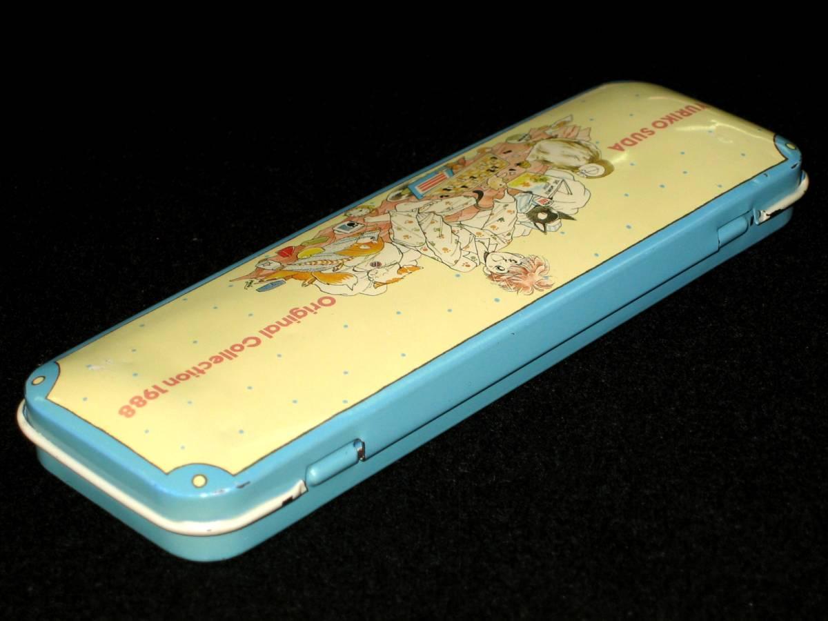 当時物 昭和レトロ 80年代 巣田祐里子 YURIKO SUDA Original Collection 1988 アニパロ movic カンペン 缶ペン 筆入れ 筆箱 文房具 USED_画像3