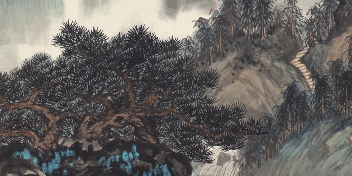 中国美術 近現代書画家 呉湖帆 山水図 掛け軸 書画立軸 肉筆保證 _画像3