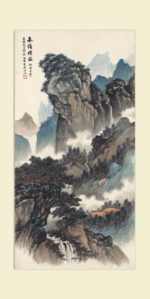 中国美術 近現代書画家 呉湖帆 山水図 掛け軸 書画立軸 肉筆保證