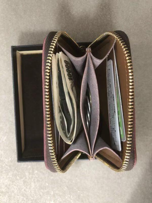 新作品ブライドルレザーラウンドファスナー短財布 カードケース コインケース/オレンジ_画像4