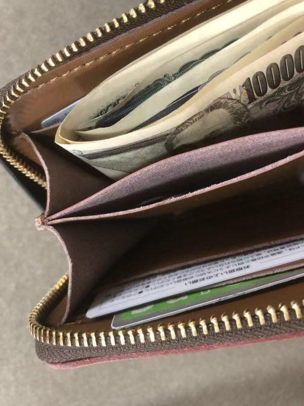 新作品ブライドルレザーラウンドファスナー短財布 カードケース コインケース/オレンジ_画像5