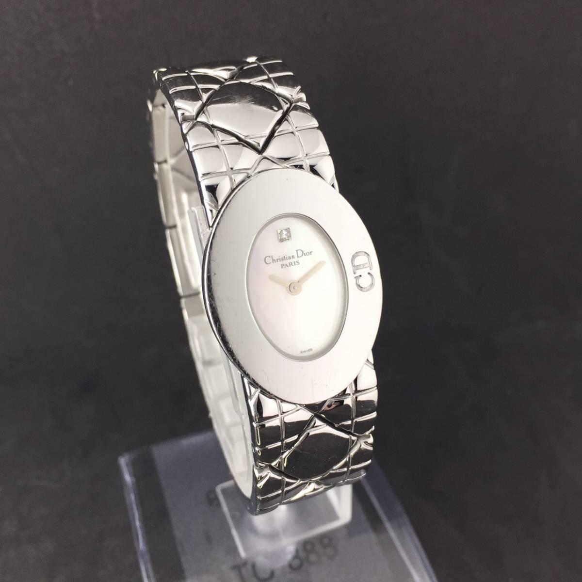 【1円良品】Christian Dior クリスチャン ディオール 腕時計 レディース D90-100 1P ダイヤ シェル文字盤 稼動品_画像2