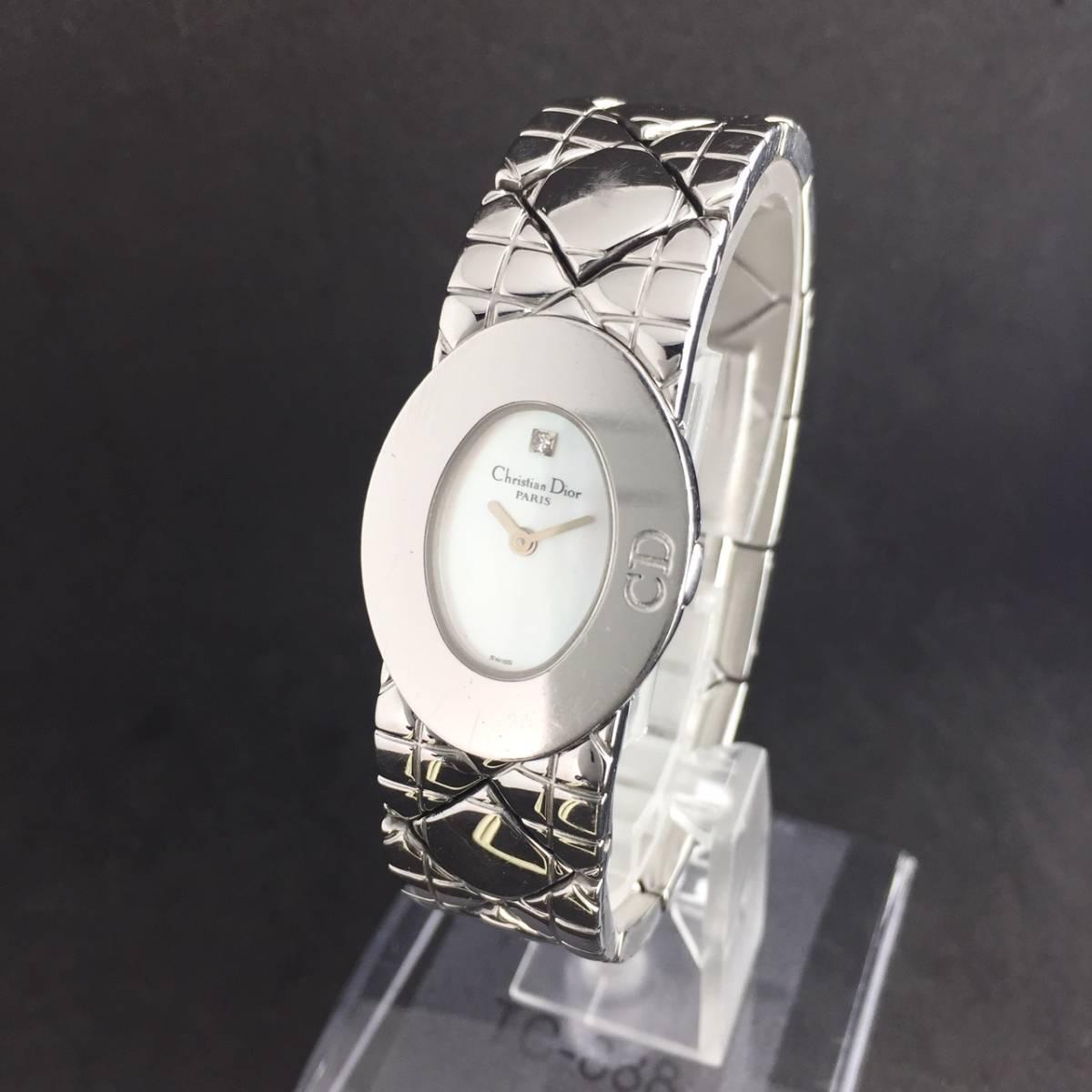 【1円良品】Christian Dior クリスチャン ディオール 腕時計 レディース D90-100 1P ダイヤ シェル文字盤 稼動品_画像3