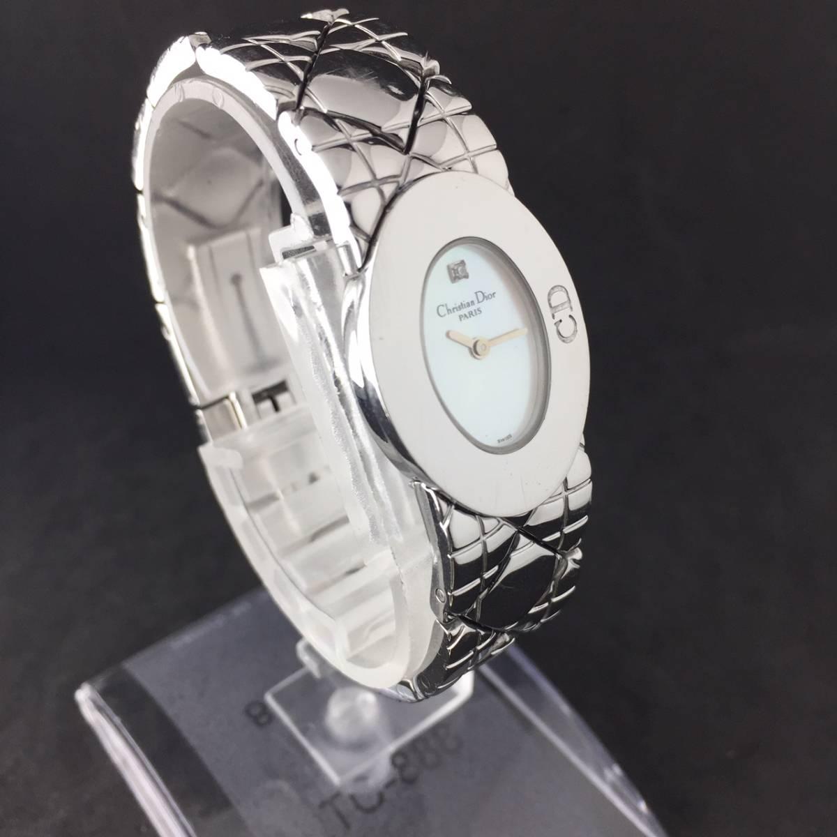 【1円良品】Christian Dior クリスチャン ディオール 腕時計 レディース D90-100 1P ダイヤ シェル文字盤 稼動品_画像4