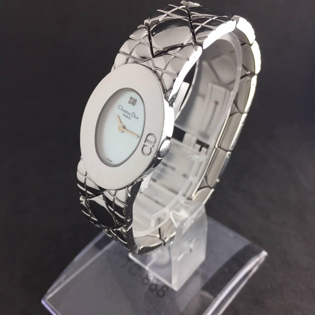 【1円良品】Christian Dior クリスチャン ディオール 腕時計 レディース D90-100 1P ダイヤ シェル文字盤 稼動品_画像5