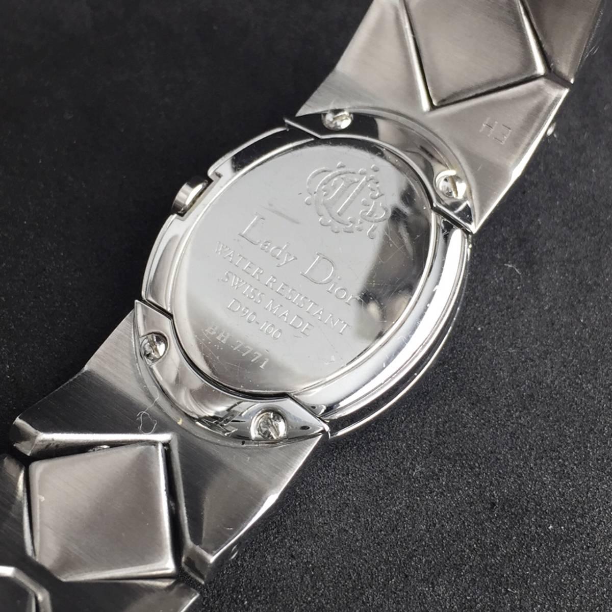 【1円良品】Christian Dior クリスチャン ディオール 腕時計 レディース D90-100 1P ダイヤ シェル文字盤 稼動品_画像8