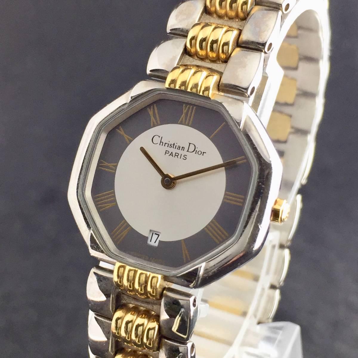 【1円~】Christian Dior クリスチャンディオール 腕時計 レディース D48-203 オクタゴン デイト コンビ 可動品