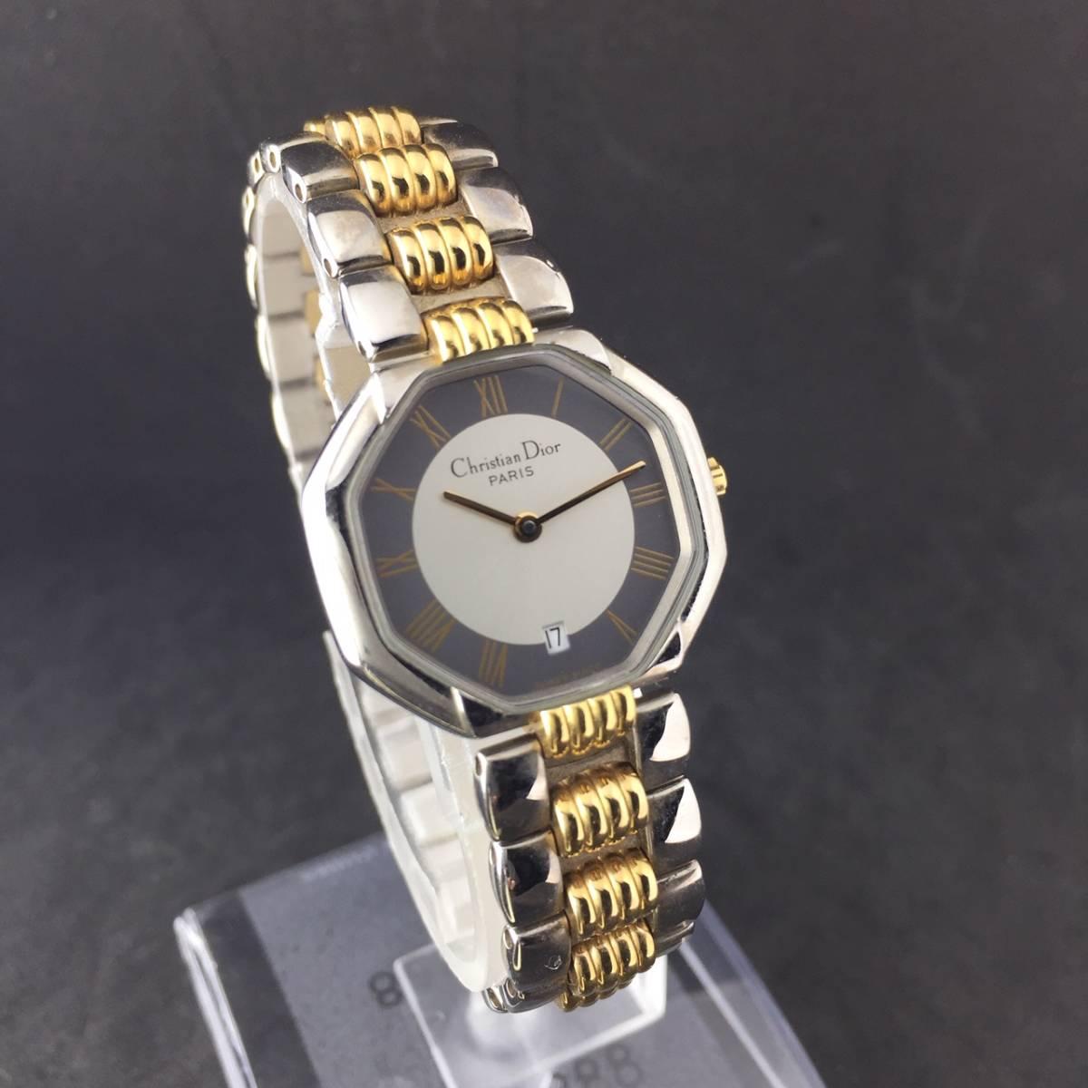 【1円~】Christian Dior クリスチャンディオール 腕時計 レディース D48-203 オクタゴン デイト コンビ 可動品_画像2