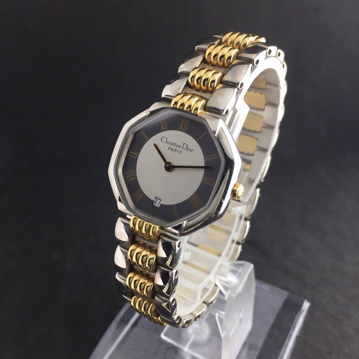 【1円~】Christian Dior クリスチャンディオール 腕時計 レディース D48-203 オクタゴン デイト コンビ 可動品_画像3