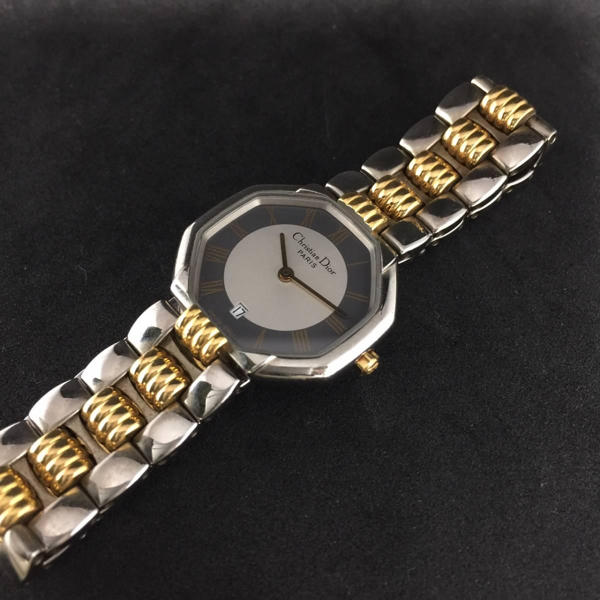 【1円~】Christian Dior クリスチャンディオール 腕時計 レディース D48-203 オクタゴン デイト コンビ 可動品_画像4