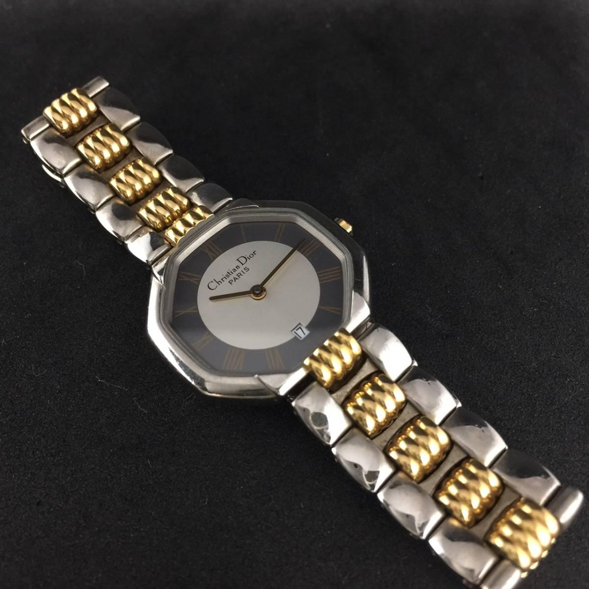 【1円~】Christian Dior クリスチャンディオール 腕時計 レディース D48-203 オクタゴン デイト コンビ 可動品_画像5