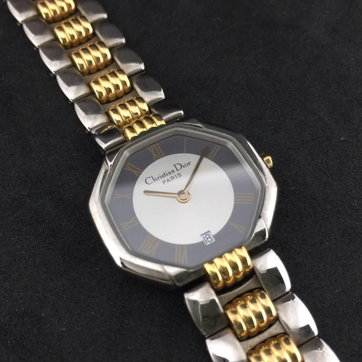 【1円~】Christian Dior クリスチャンディオール 腕時計 レディース D48-203 オクタゴン デイト コンビ 可動品_画像8