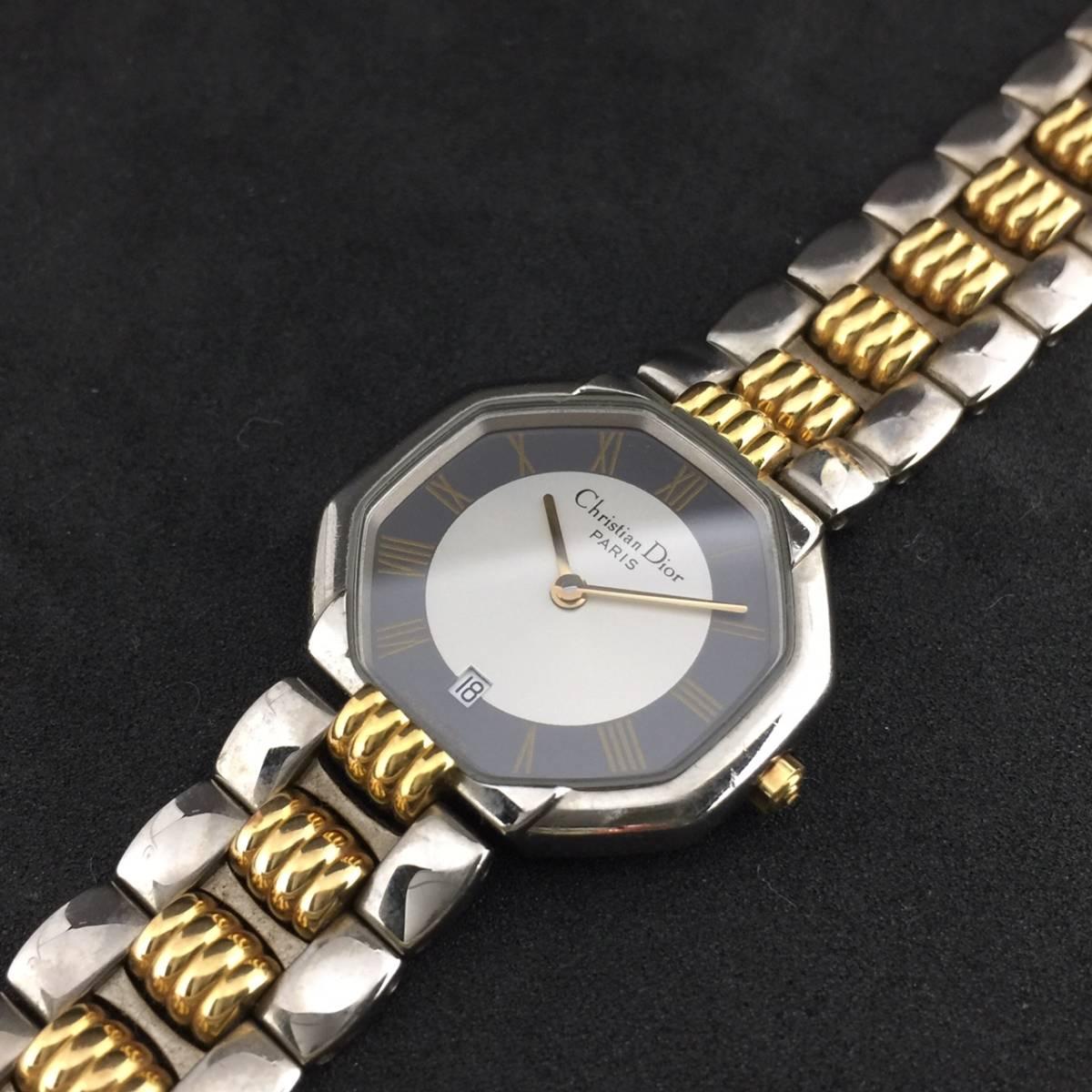 【1円~】Christian Dior クリスチャンディオール 腕時計 レディース D48-203 オクタゴン デイト コンビ 可動品_画像9