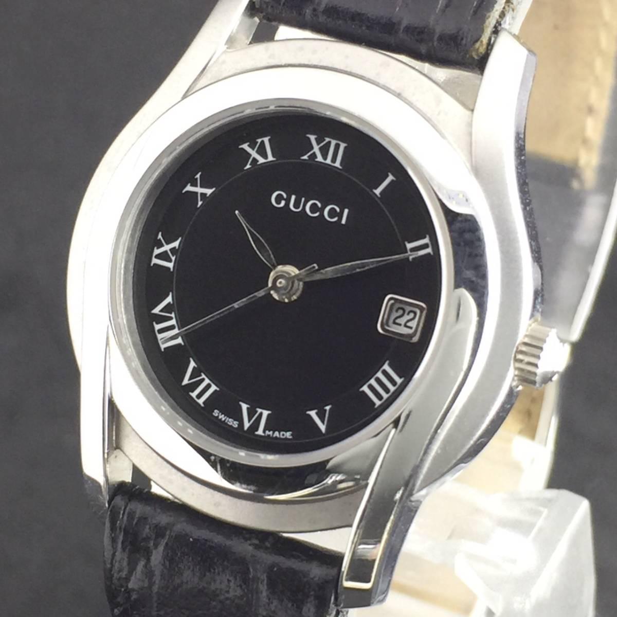 【1円~】GUCCI グッチ 腕時計 レディース 5500L デイト ローマン 黒文字盤 可動品
