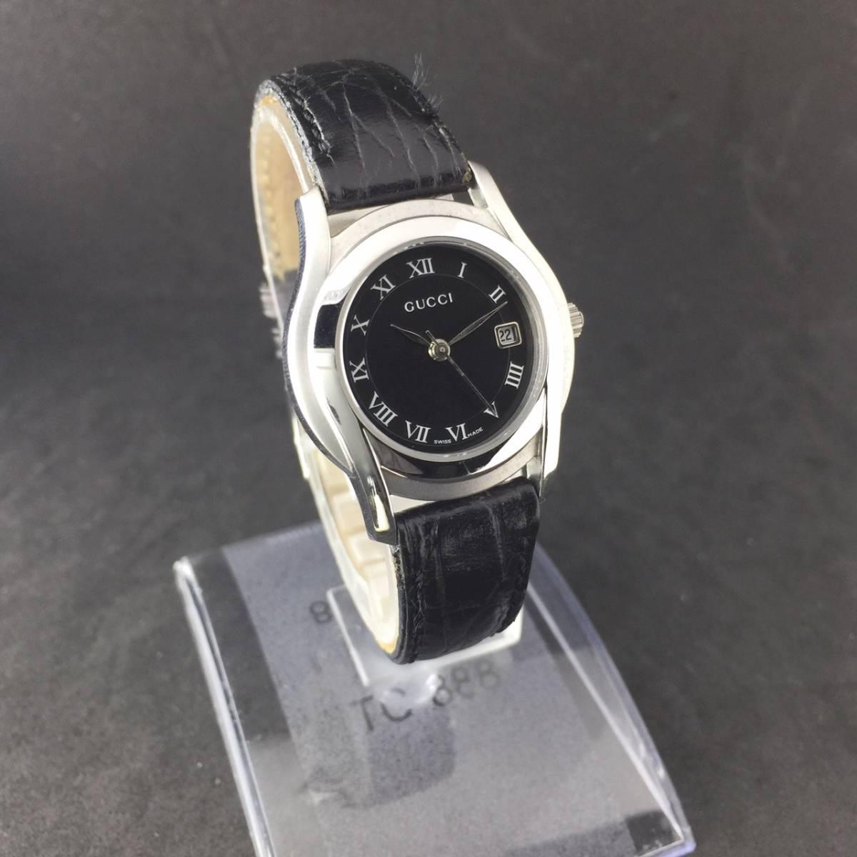 【1円~】GUCCI グッチ 腕時計 レディース 5500L デイト ローマン 黒文字盤 可動品_画像2