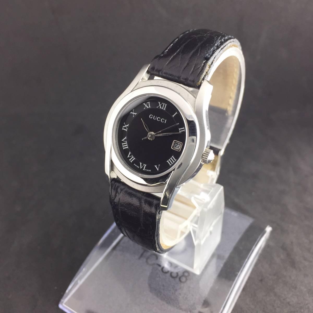 【1円~】GUCCI グッチ 腕時計 レディース 5500L デイト ローマン 黒文字盤 可動品_画像3