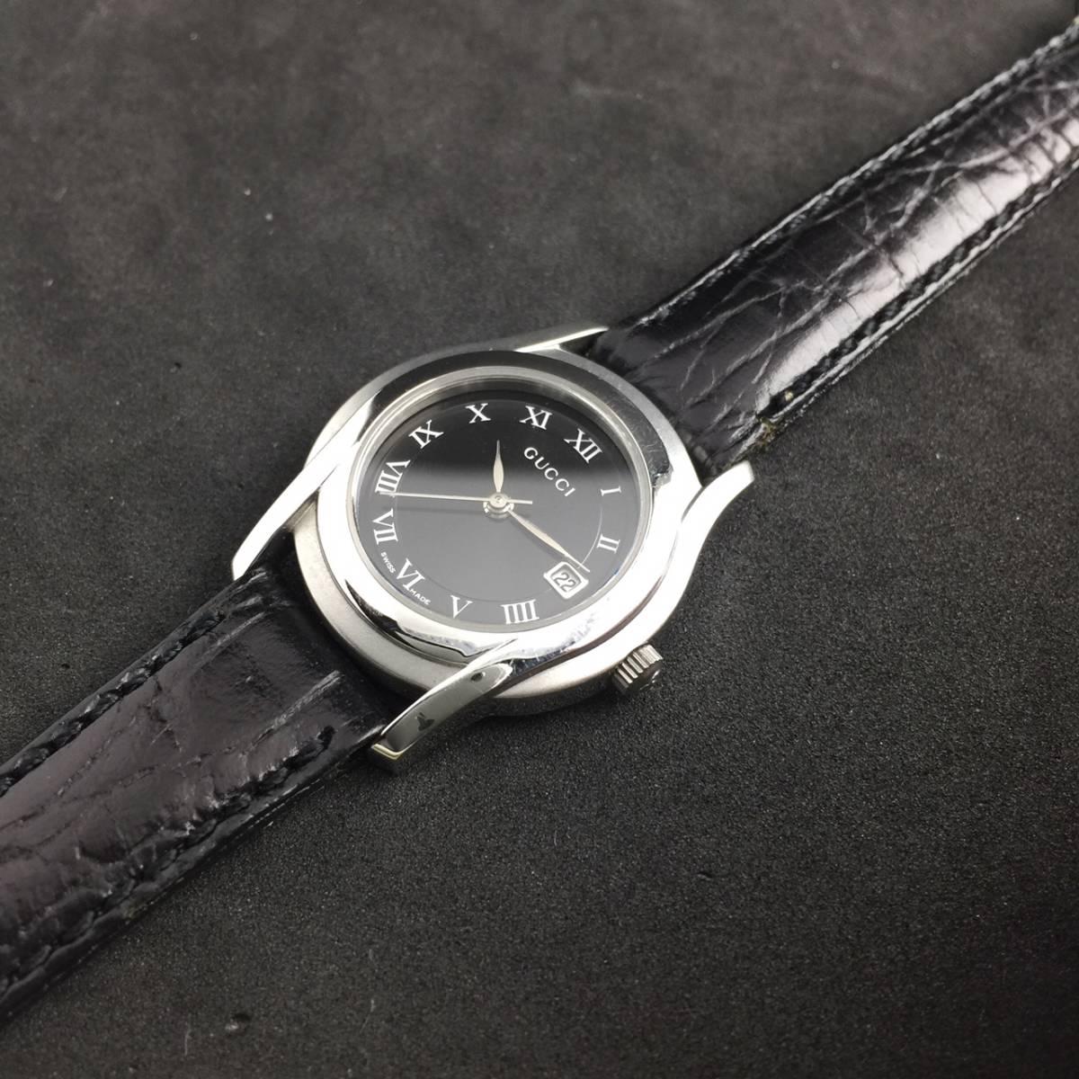 【1円~】GUCCI グッチ 腕時計 レディース 5500L デイト ローマン 黒文字盤 可動品_画像4