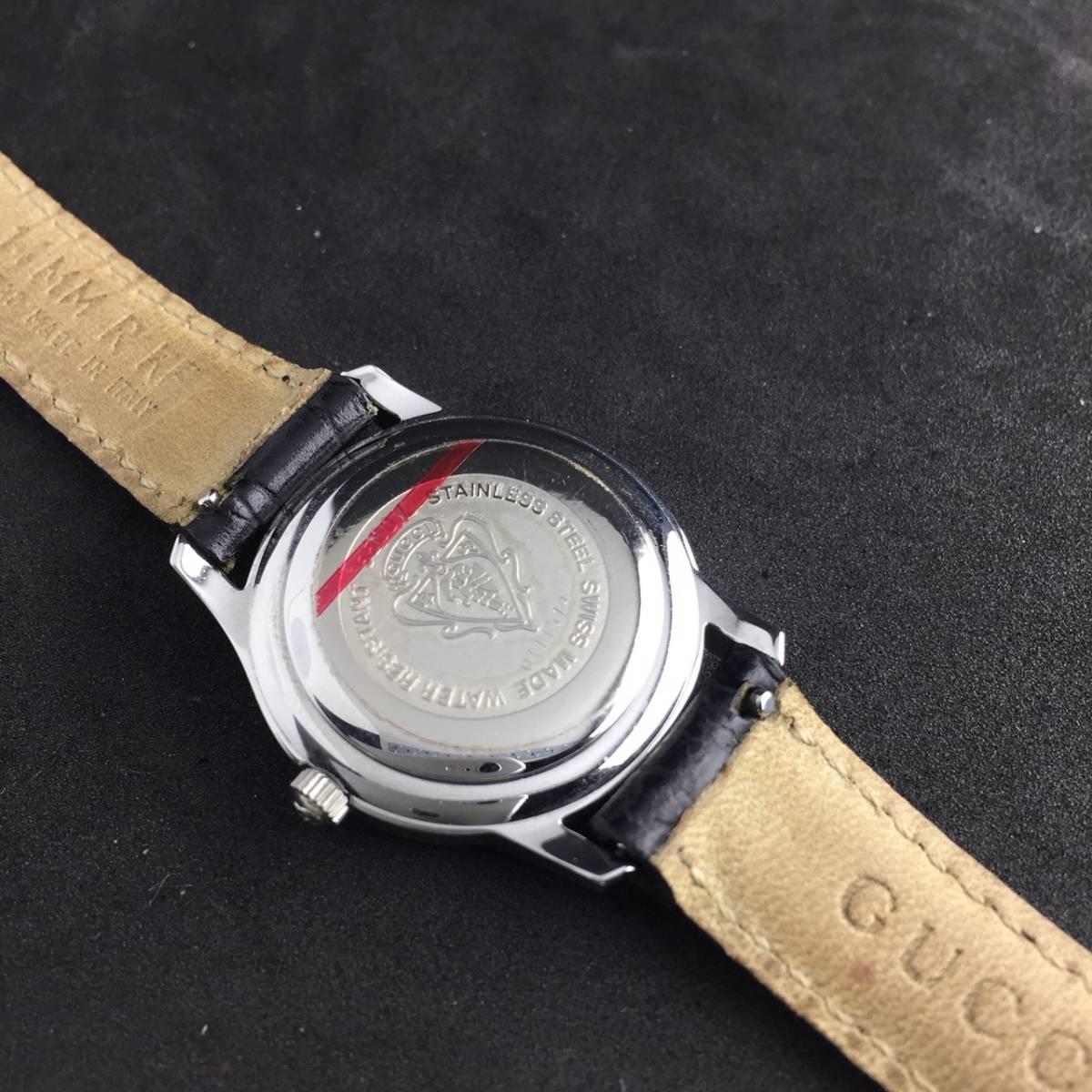 【1円~】GUCCI グッチ 腕時計 レディース 5500L デイト ローマン 黒文字盤 可動品_画像7