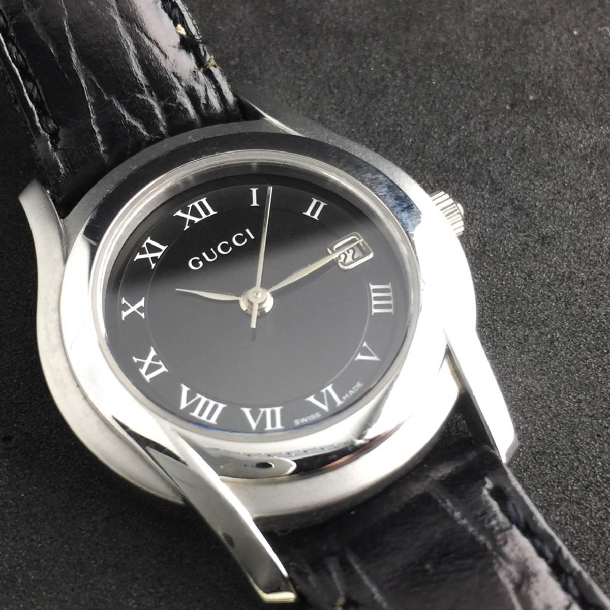 【1円~】GUCCI グッチ 腕時計 レディース 5500L デイト ローマン 黒文字盤 可動品_画像9