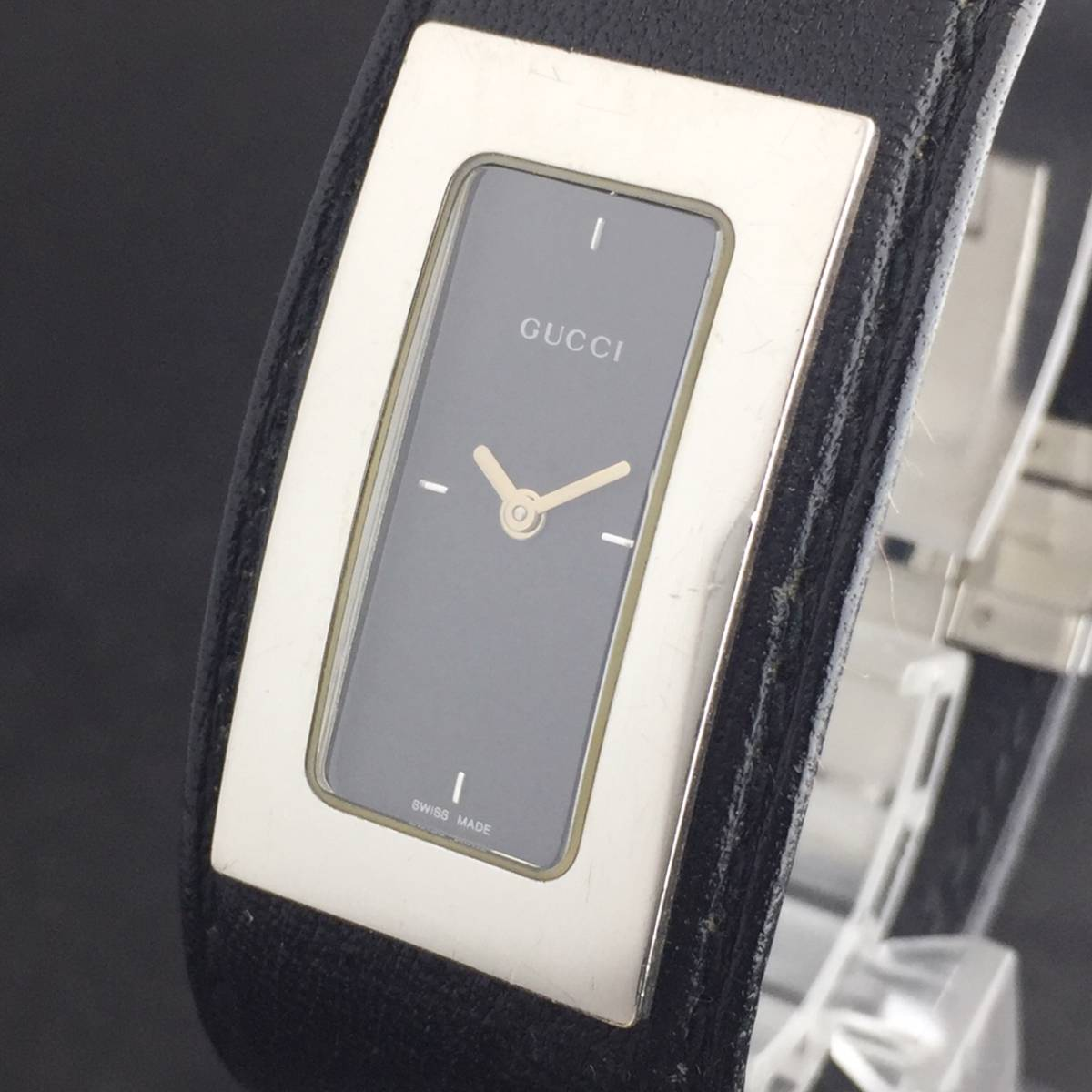 【1円箱付】GUCCI グッチ 腕時計 レディース 7800S レザー ブラックダイヤル スクエア 可動品