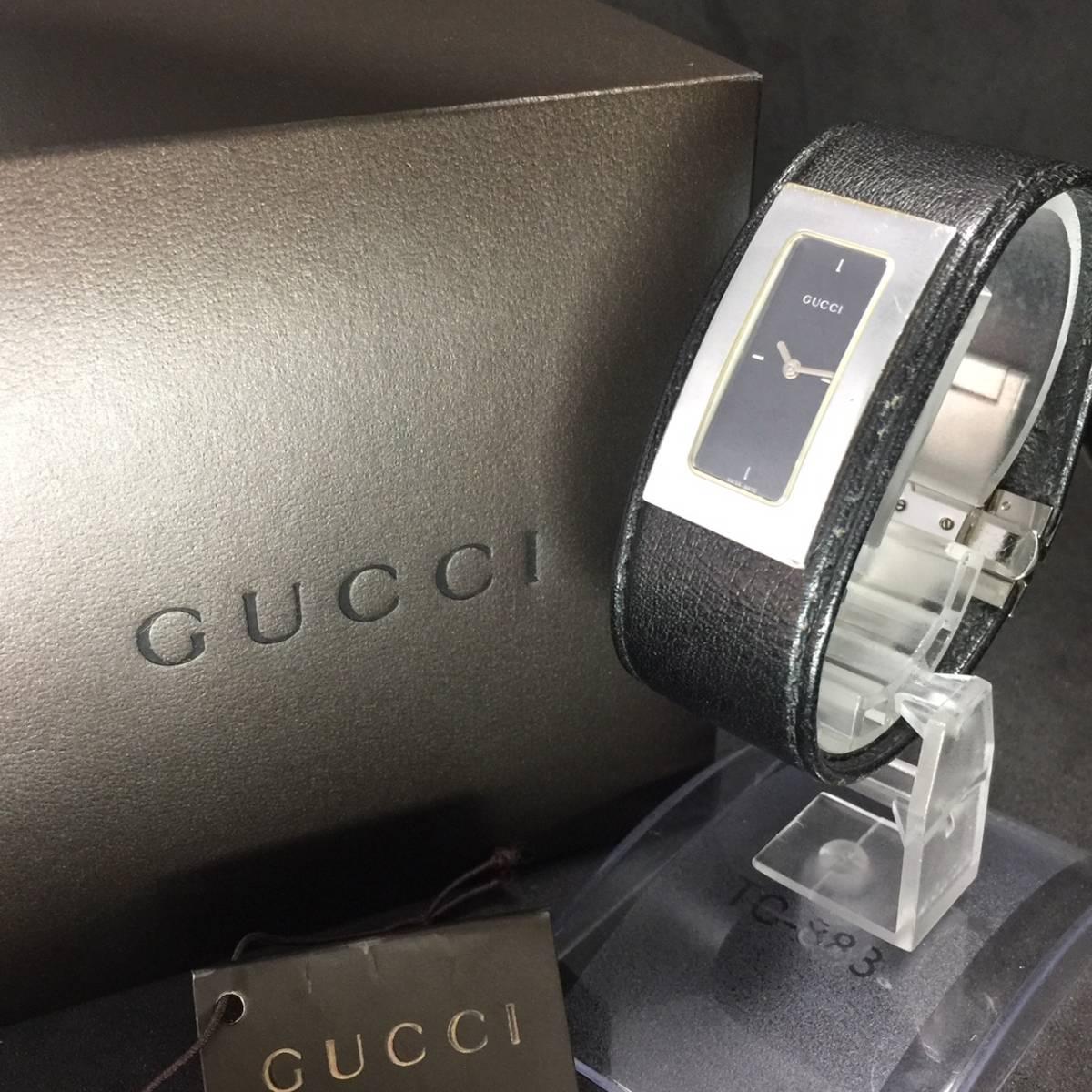 【1円箱付】GUCCI グッチ 腕時計 レディース 7800S レザー ブラックダイヤル スクエア 可動品_画像2