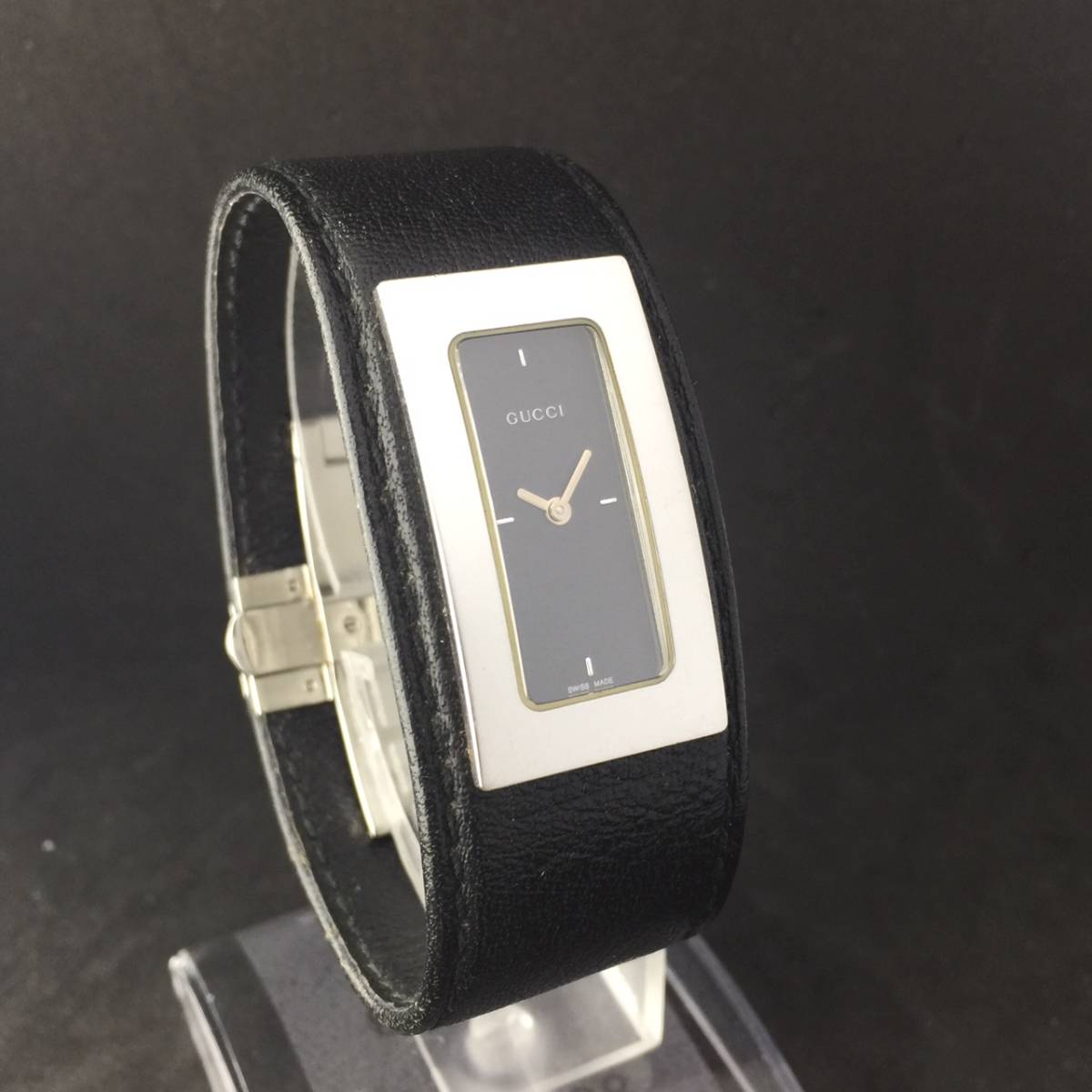 【1円箱付】GUCCI グッチ 腕時計 レディース 7800S レザー ブラックダイヤル スクエア 可動品_画像3