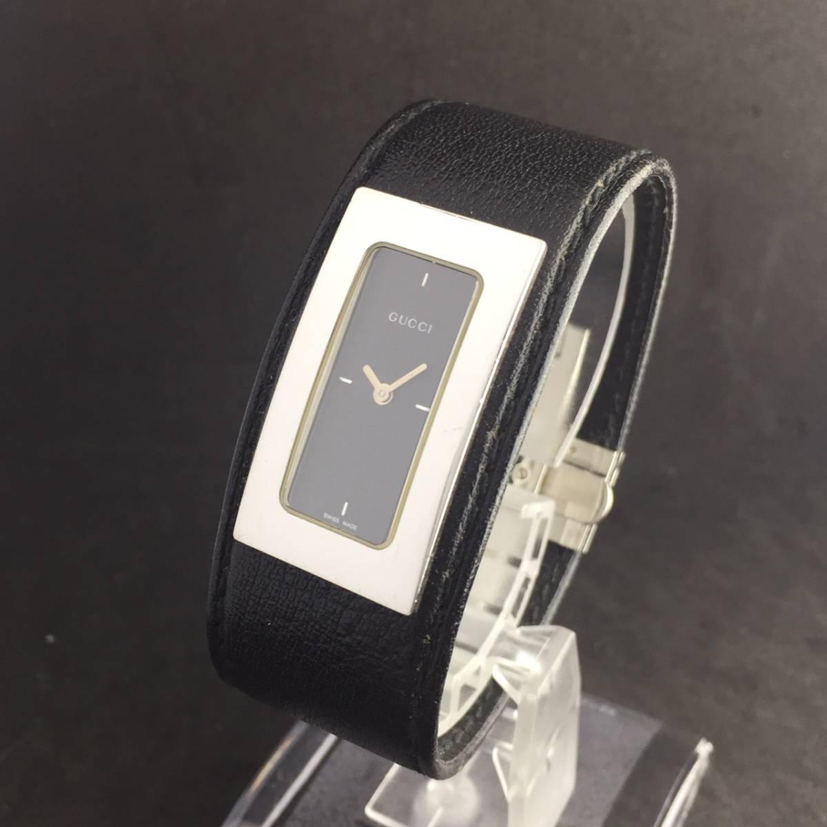 【1円箱付】GUCCI グッチ 腕時計 レディース 7800S レザー ブラックダイヤル スクエア 可動品_画像4