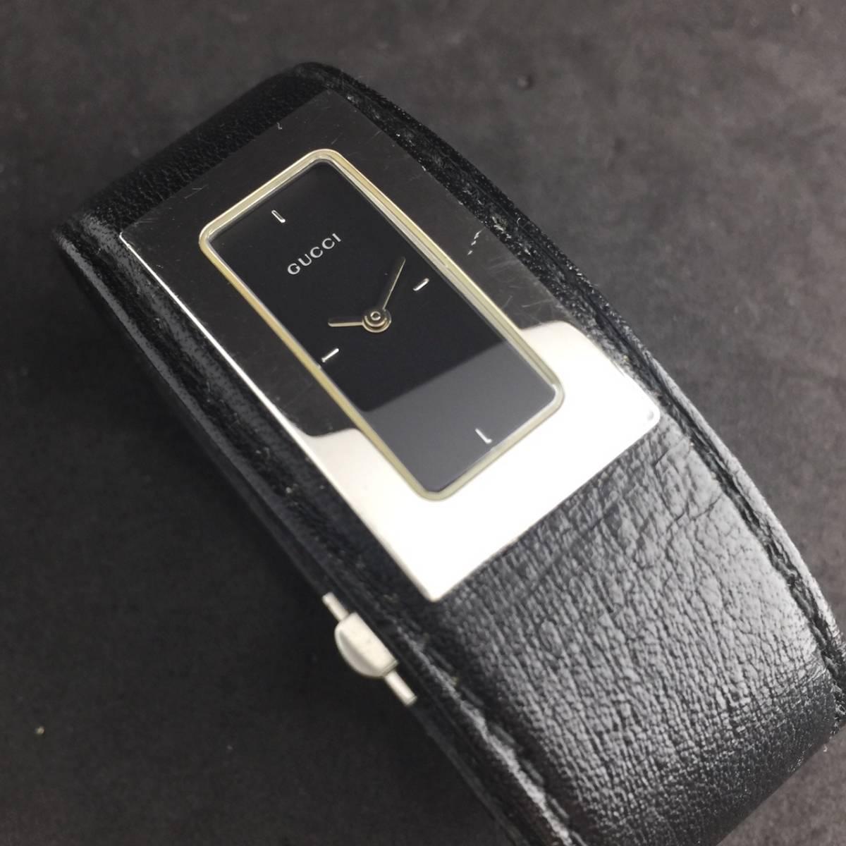 【1円箱付】GUCCI グッチ 腕時計 レディース 7800S レザー ブラックダイヤル スクエア 可動品_画像7