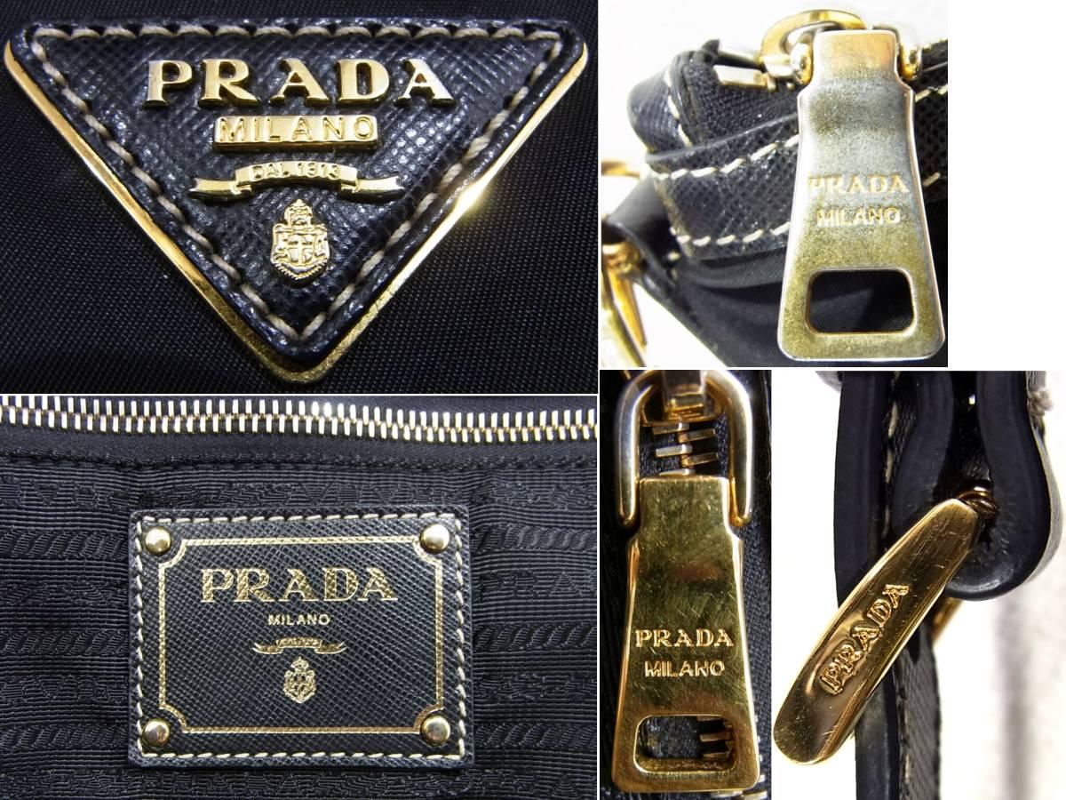プラダ 2WAYショルダーバッグ ブラック×ゴールド ナイロン×レザー斜め掛けショルダーストラップ付きレディース肩掛けハンドバッグPRADA黒_画像9