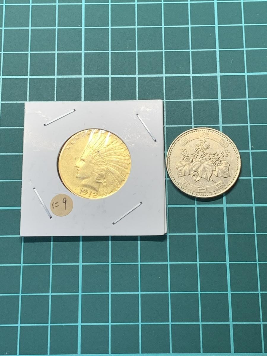 Ω1912年 アメリカ インディアンヘッドイーグル 10ドル メダル レア希少記念 古銭硬貨金貨KGP 海外復刻参考レプリカコイン に9_画像3