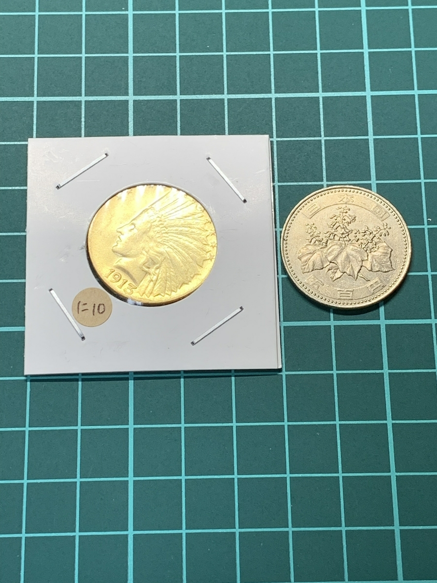 Ω1913年 アメリカ インディアンヘッドイーグル 10ドル メダル レア希少記念 古銭硬貨金貨KGP 海外復刻参考レプリカコイン に10_画像5