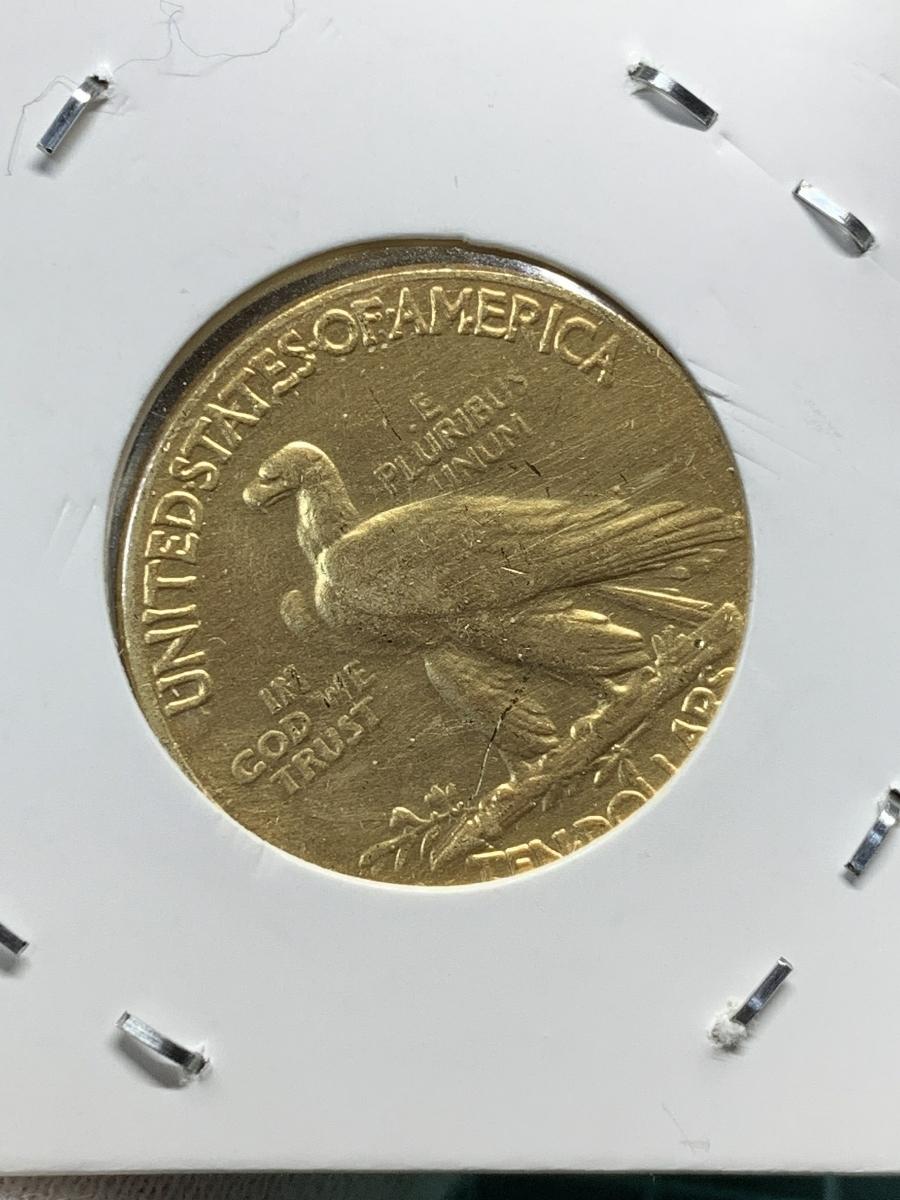 Ω1913年 アメリカ インディアンヘッドイーグル 10ドル メダル レア希少記念 古銭硬貨金貨KGP 海外復刻参考レプリカコイン に10_画像4
