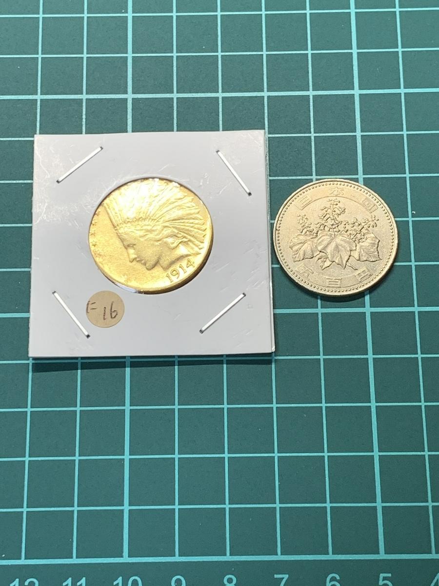 Ω1914年 アメリカ インディアンヘッドイーグル 10ドル メダル レア希少記念 古銭硬貨金貨KGP 海外復刻参考レプリカコイン に16_画像3