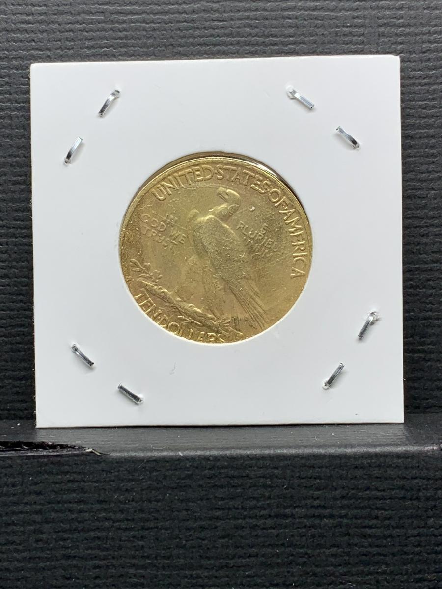 Ω1914年 アメリカ インディアンヘッドイーグル 10ドル メダル レア希少記念 古銭硬貨金貨KGP 海外復刻参考レプリカコイン に16_画像7