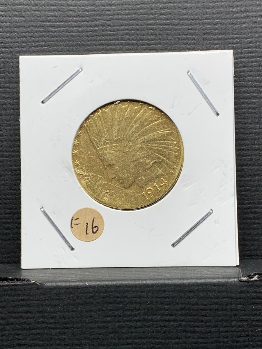 Ω1914年 アメリカ インディアンヘッドイーグル 10ドル メダル レア希少記念 古銭硬貨金貨KGP 海外復刻参考レプリカコイン に16_画像6