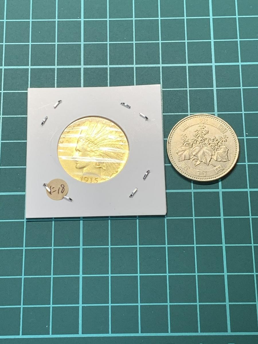 Ω1915年 アメリカ インディアンヘッドイーグル 10ドル メダル レア希少記念 古銭硬貨金貨KGP 海外復刻参考レプリカコイン に18_画像5