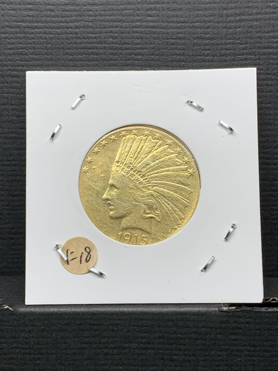 Ω1915年 アメリカ インディアンヘッドイーグル 10ドル メダル レア希少記念 古銭硬貨金貨KGP 海外復刻参考レプリカコイン に18_画像1