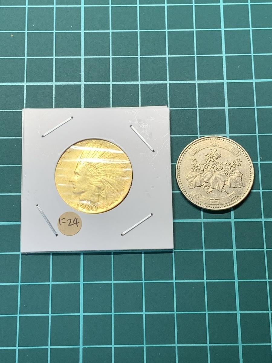 Ω1930年 アメリカ インディアンヘッドイーグル 10ドル メダル レア希少記念 古銭硬貨金貨ゴールドKGP 海外復刻参考レプリカコイン に24_画像5