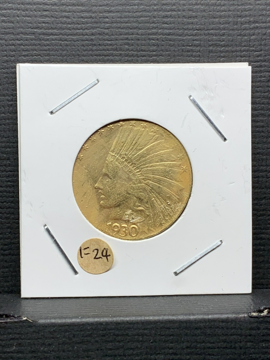 Ω1930年 アメリカ インディアンヘッドイーグル 10ドル メダル レア希少記念 古銭硬貨金貨ゴールドKGP 海外復刻参考レプリカコイン に24_画像1