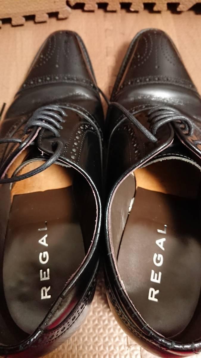 【返品OK】リーガル 24㎝ 221R 内羽根式セミブローグ ブラック ビジネス 冠婚葬祭 【REGAL】_画像6