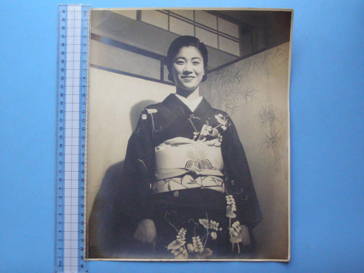 戦前 古写真 美人 美女 女性 笑顔 (F21)_画像1